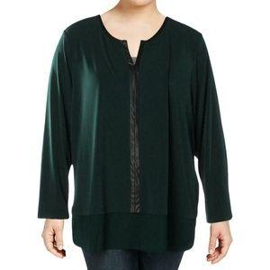 Calvin Klein Green Chiffon Hem Faux Leather Top